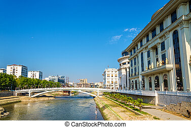 The Vardar river near Ministry of Foreign Affairs in Skopje