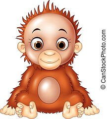 Cartoon funny baby orangutan - Vector illustration of...