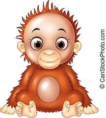 caricatura, divertido, bebé, orangutan, ,