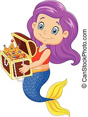 Cartoon happy mermaid - Vector illustration of Cartoon happy...