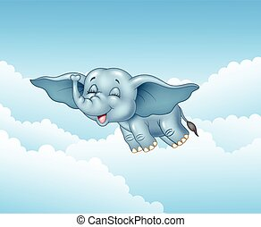 Cute baby elephant flying - Vector illustration of Cute baby...
