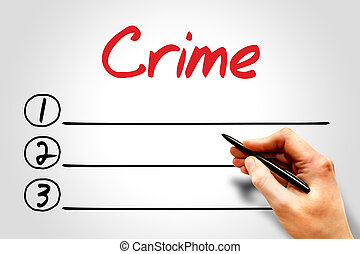 Crime blank list, security concept