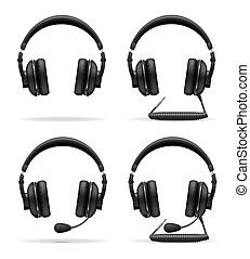 set icons acoustic headphones illustration isolated on white...