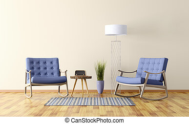 Interior of a room with two rocking chairs 3d render -...