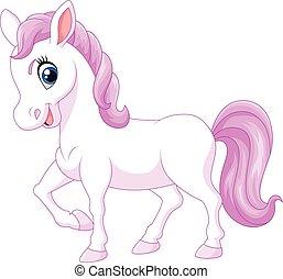 Cartoon happy pony horse isolated - Vector illustration of...