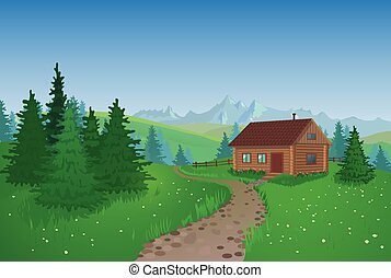 Beautiful Landscape With House - Summer landscape with...