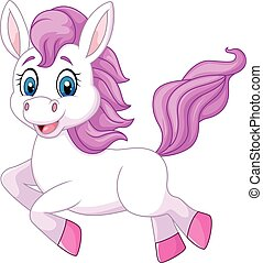 Cute baby pony jumping isolated - Vector illustration of...