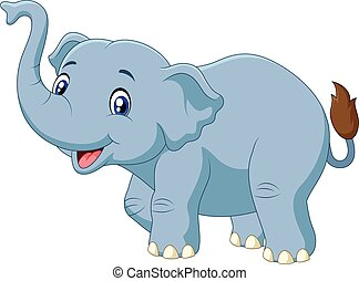 Cute cartoon elephant isolated - Vector illustration of Cute...
