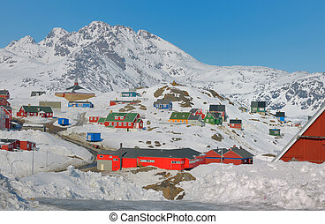 Colorful houses in Greenland - Colorful houses in winter...
