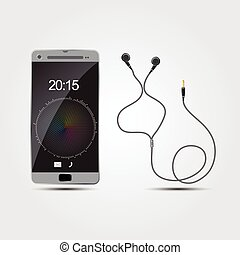 vector smart phone with earphones, Illustration