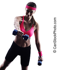woman fitness weights exercises silhouette