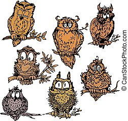 Set of cute owls on branch. Hand drawn picture isolated on white background.