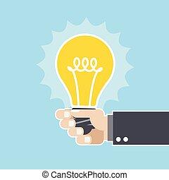 Innovative idea - lightbulb in hand
