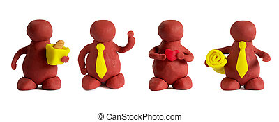 Plasticine mans - Four plasticine mans isolated over white...