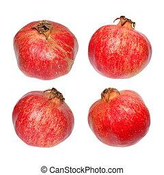 Set of pomegranate fruits isolated