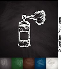 police pepper spray icon Hand drawn Chalkboard Design
