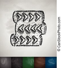 barricade of tires icon Hand drawn Chalkboard Design