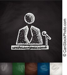 reporter icon. Hand drawn Chalkboard Design