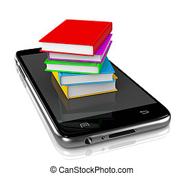Smartphone with Pile of Books