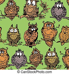 Seamless pattern with cute owls on branch. Hand drawn background.