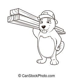 Beaver builder coloring book vector illustration - Beaver...