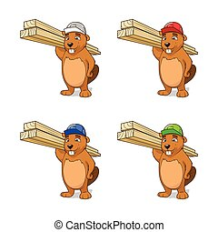 Beaver builder vector illustration