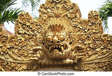 element design - Hundreds years old carving at Pura in Bali