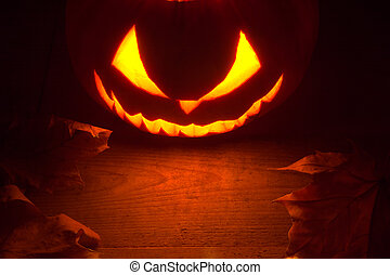 Scary halloween night with spooky evil face of jack o...
