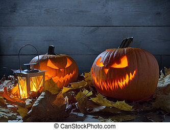 Scary jack o lantern on wooden fence - Scary pumpkins jack o...