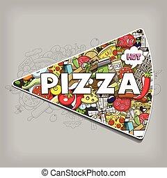 Pizza hand drawn title design vector illustration