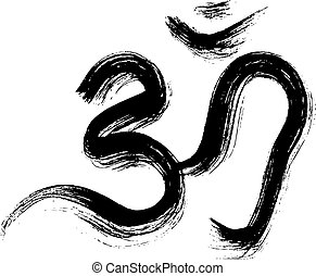 Sign vector Hindu Om Icon in Tamil - Om sign painted by...