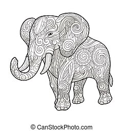 Elephant ornament ethnic vector illustration - Elephant...