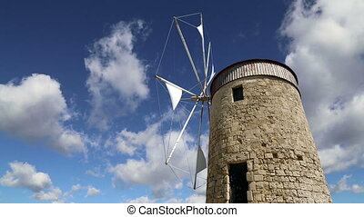 old Rhodes windmills, Greece time lapse