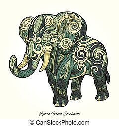 Elephant green ornament ethnic vector illustration -...
