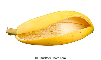 Banana Skin Isolated on White Background - A close-up of...