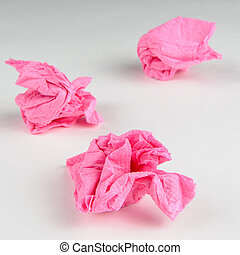 Crumpled Paper Napkins  - Three crumpled pink paper napkins
