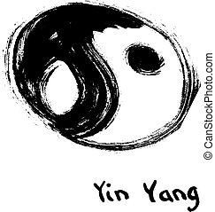 Buddhist symbol of yin yang. Chinese calligraphy ink.