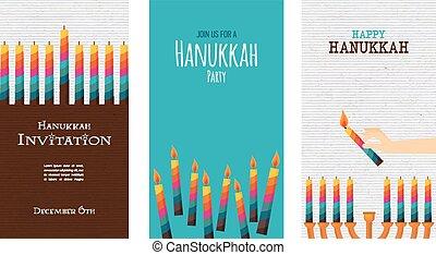 three cards for jewish holiday , hanukkah illustration