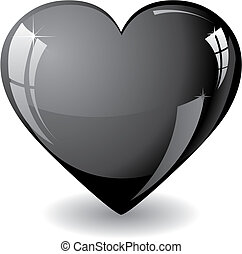 Black heart - Glitter black heart vector illustration