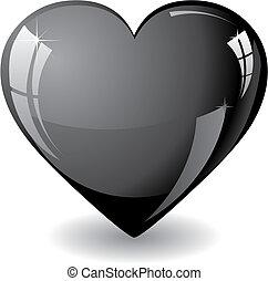 Black heart - Glitter black heart vector illustration