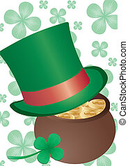Green Tophat - Vector background with Top Hat for St....