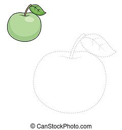 Connect dots to draw apple educational game - Connect the...