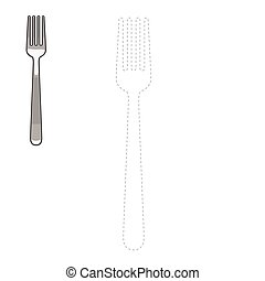 Connect dots to draw fork educational game - Connect the...