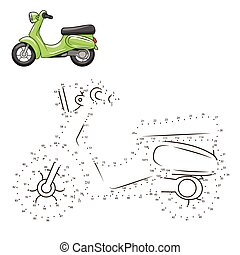 Connect dots to draw scooter educational game - Connect the...