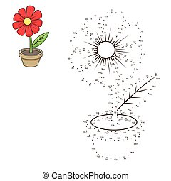 Connect dots to draw flower educational game - Connect the...