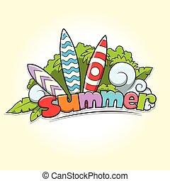 Summer surfing vector illustration
