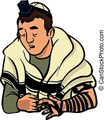 jewish man praying and put on tfilin vector illustration