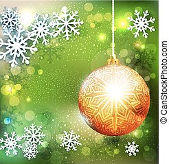 Vector Christmas green background with golden ball