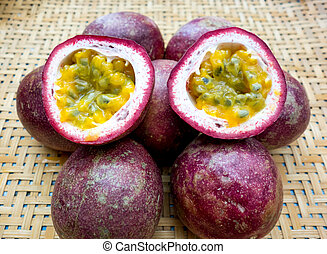 Passion fruit on the wooden