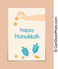 hanukkah game . hand spining dreidel - hanukkah game . hand...